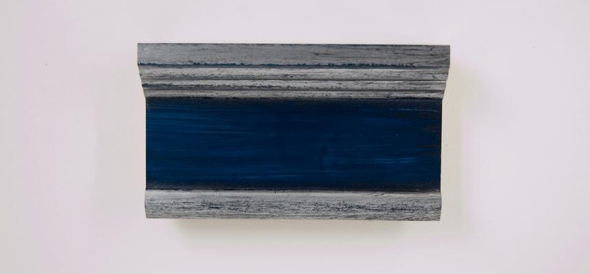 H4E71S Zilver  - blauw handgegrondeerd